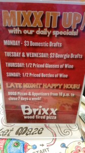 Brixx East Cobb Weekly Specials